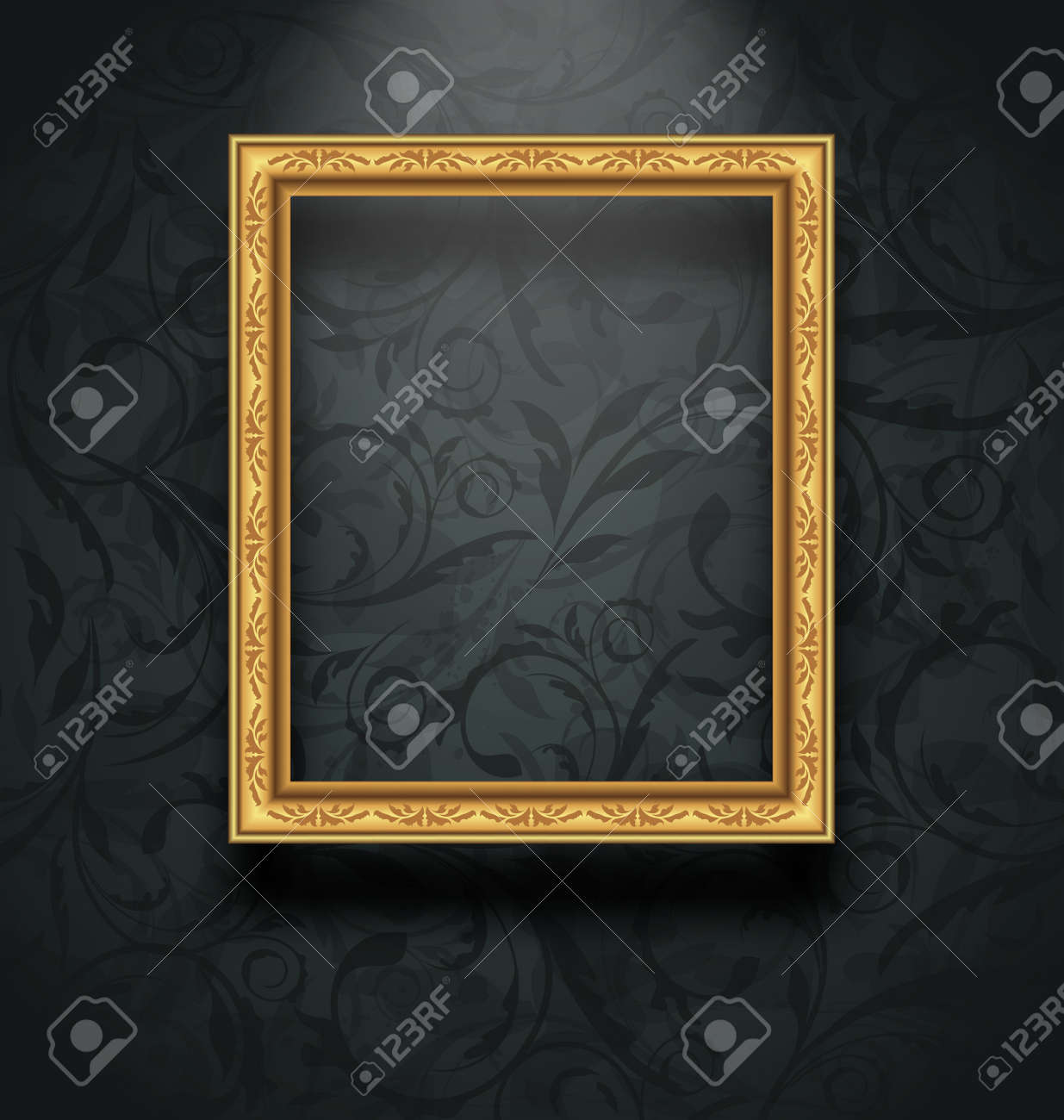 Illustration picture frame on floral texture wall - vector - 35056063