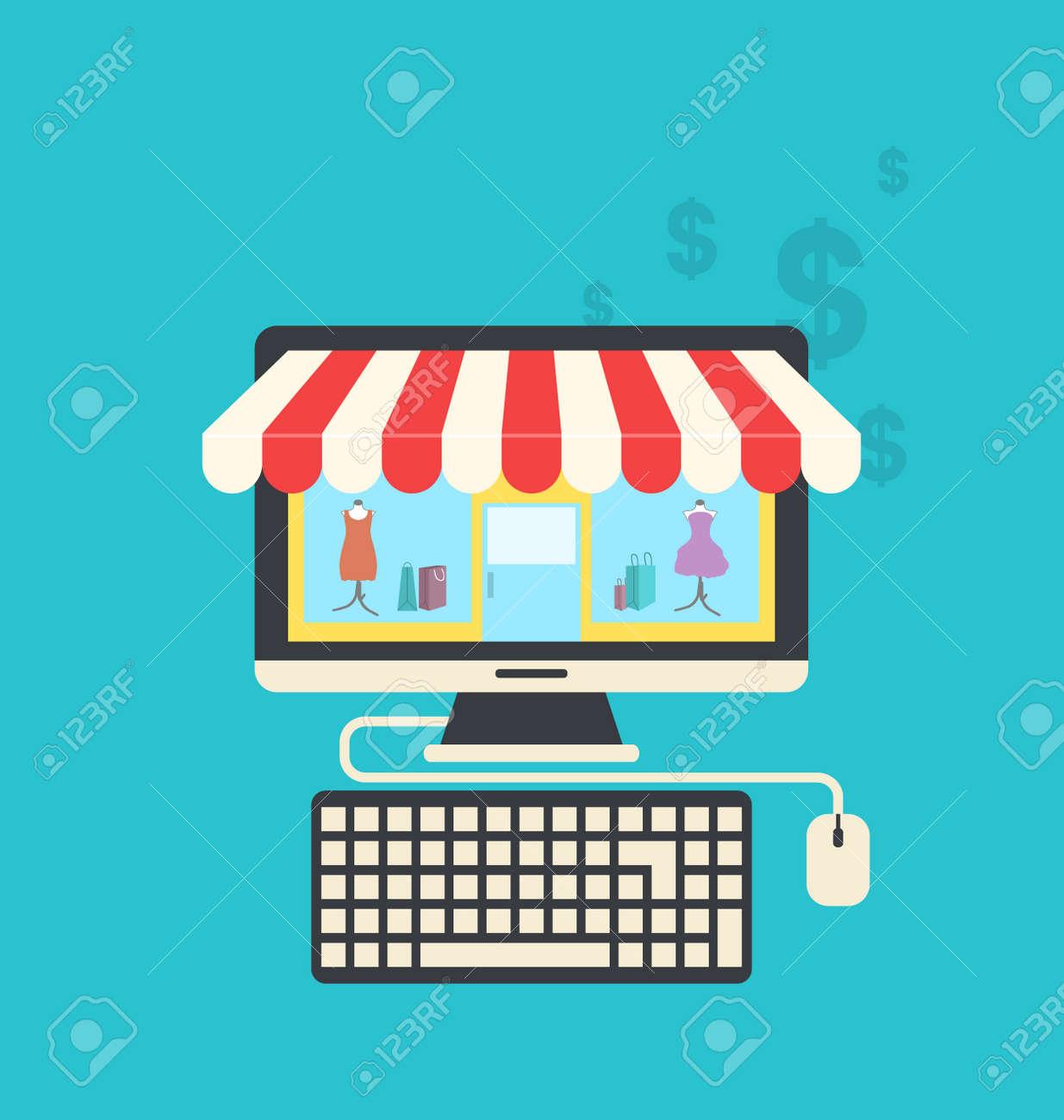 Tiendas De Ordenadores Online.Ilustracion Concepto De Tienda Online Iconos Planos De Ordenador Teclado Y Raton Vector