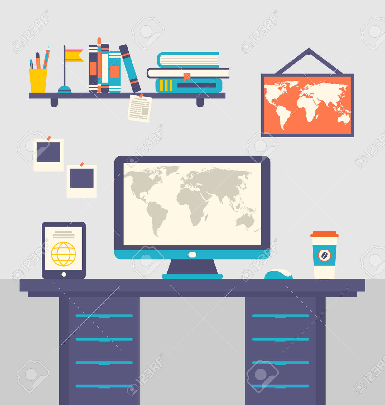 illustration work place home interior table tablet pc computer illustration work place home interior table tablet pc computer monitor coffee