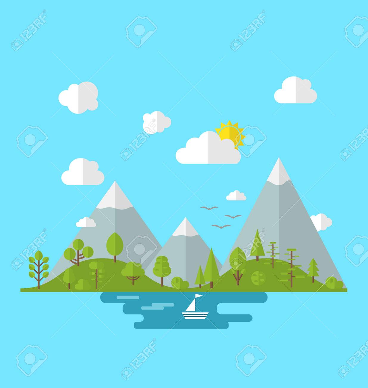 イラスト 風景森谷丘森林土地フラット スタイルで自然の背景 の