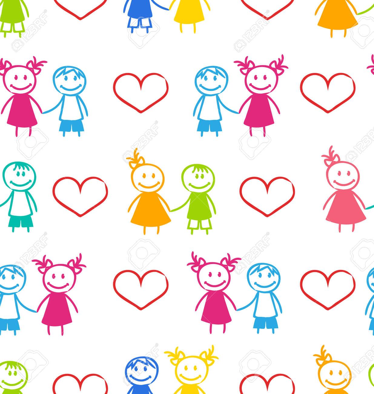 イラストのカラフルな子供たちのカップルでロマンチックな壁紙の