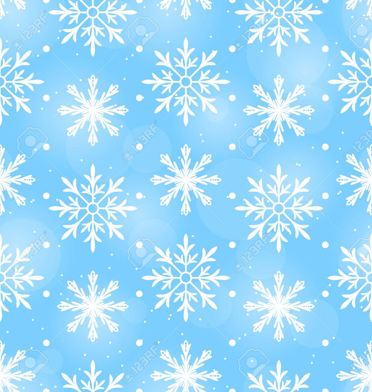 異なる雪の結晶 12 月背景ベクトル イラストのシームレスな壁紙のイラスト素材 ベクタ Image