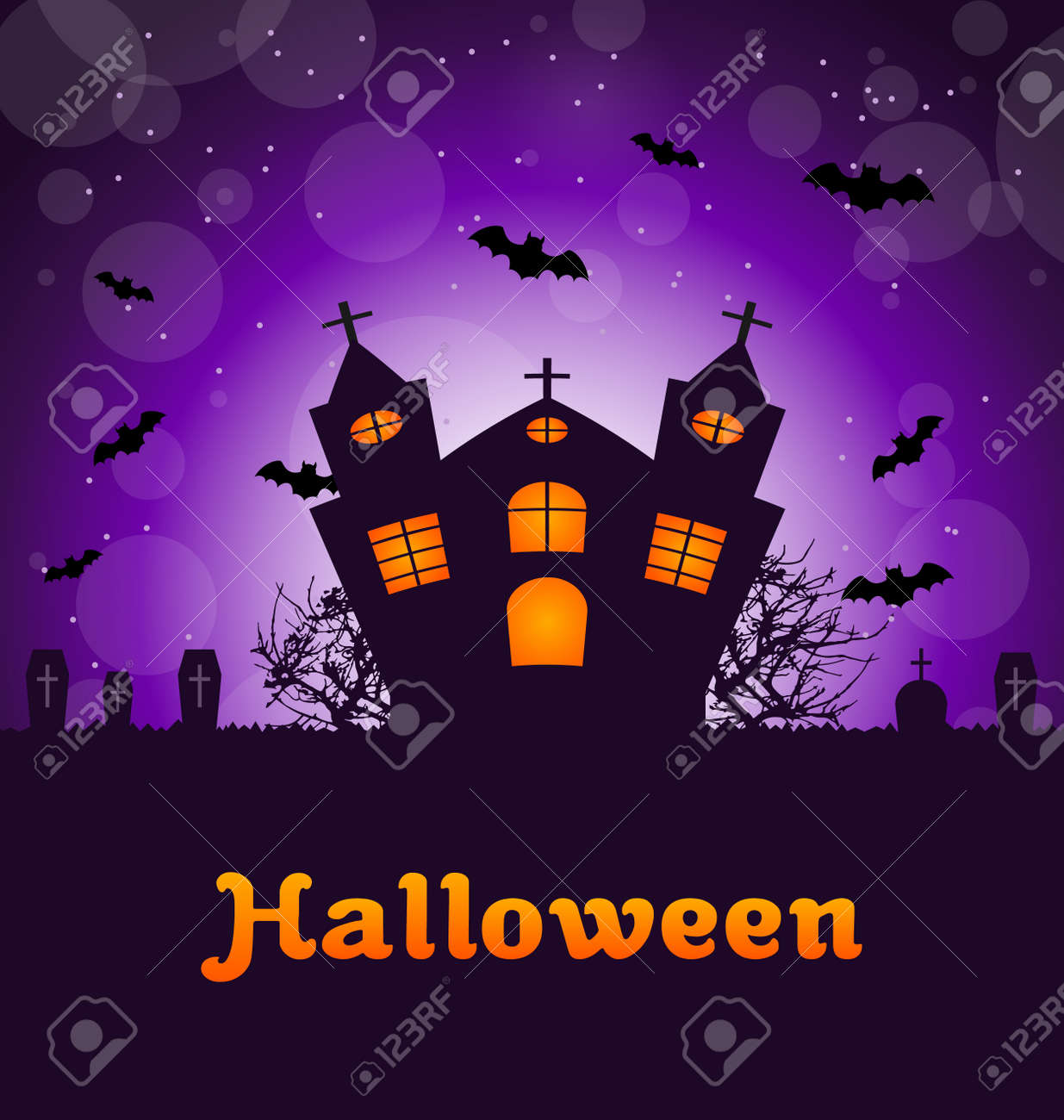 Illustration Halloween Greeting Card With Castle Bats Cemetery