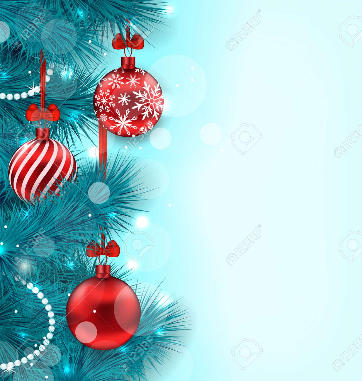 Immagini Di Natale Per Sfondo.Illustrazione Di Natale Piu Chiaro Sfondo Con Blue Abete Ramoscelli E Rossi Palle Di Vetro Spazio Per Copiare Il Testo Raster
