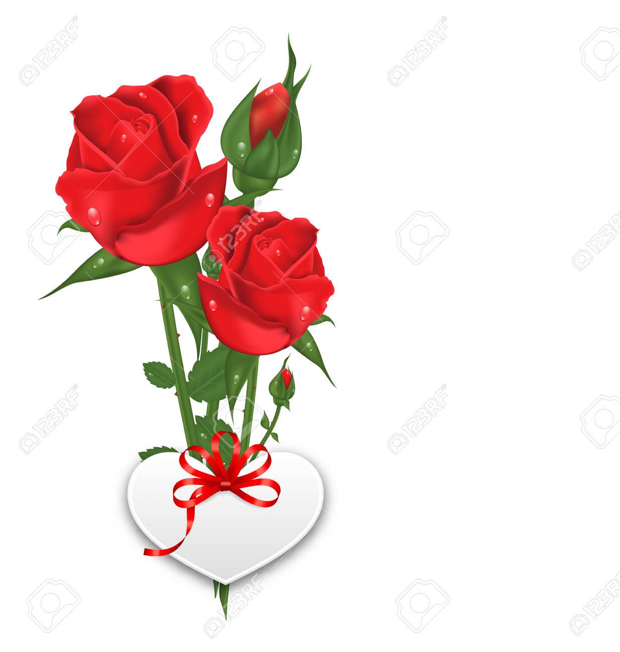 Ilustracion Del Ramo De Hermosas Flores Rosas Con La Postal De Papel