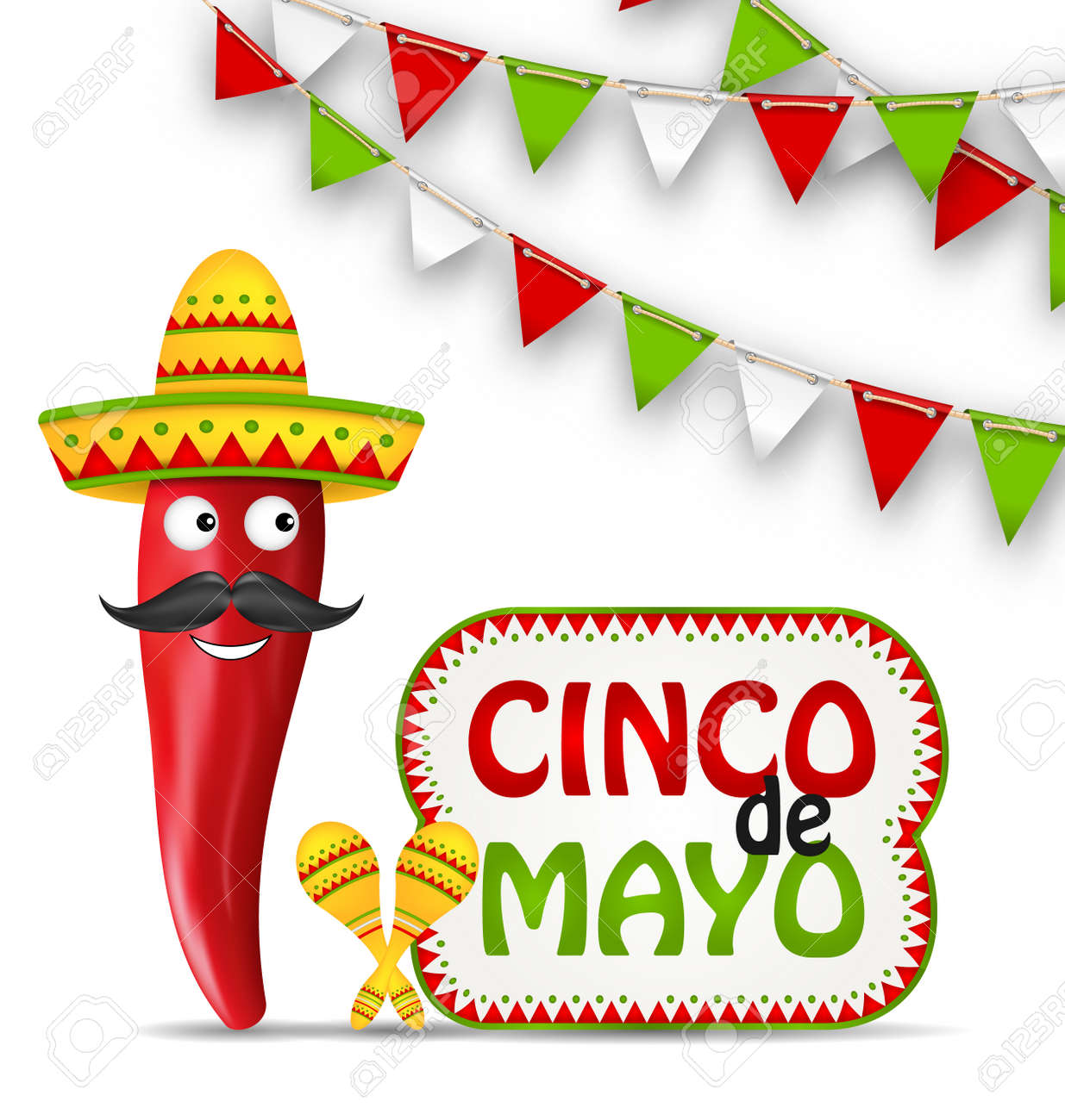 Illustration Cinco De Mayo Holiday Background with Cartoon Character of Chili Pepper, Sombrero Hat, Maracas, Bunting Decoration with Traditional Mexican Color - Vector - 55146374