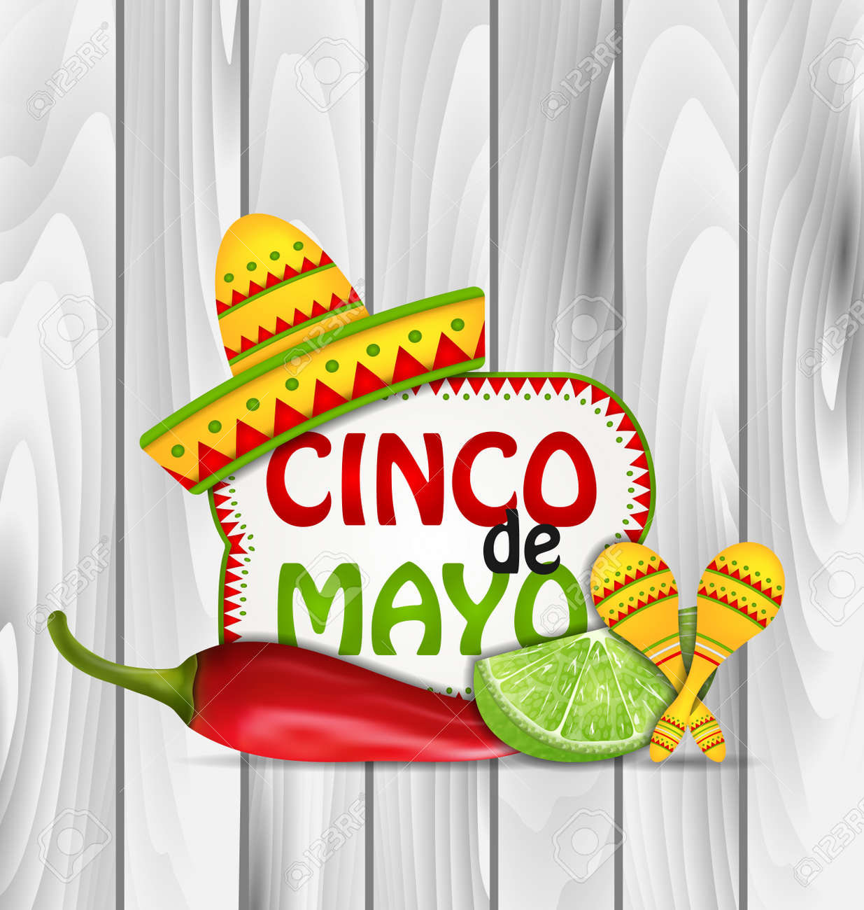 Illustration Holiday Greeting Background for Cinco De Mayo with Chili Pepper, Sombrero Hat, Maracas, Piece of Lime - Vector - 55157086