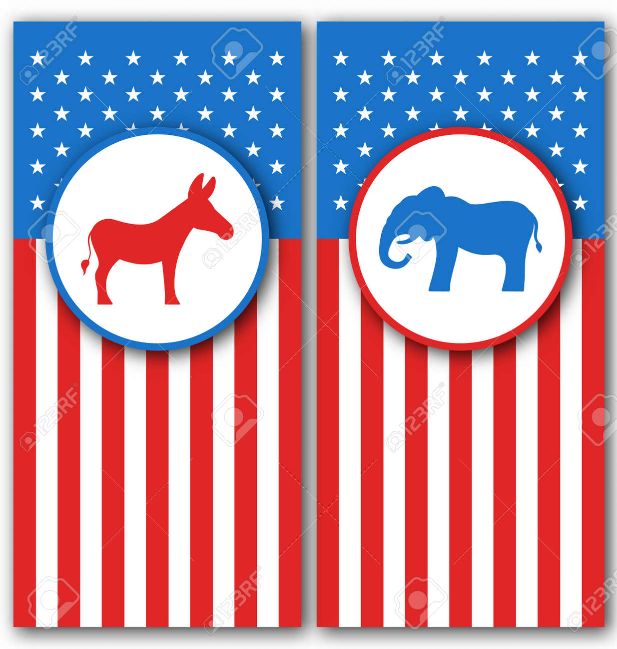 Illustration Banners With Donkey And Elephant As A Symbols Vote