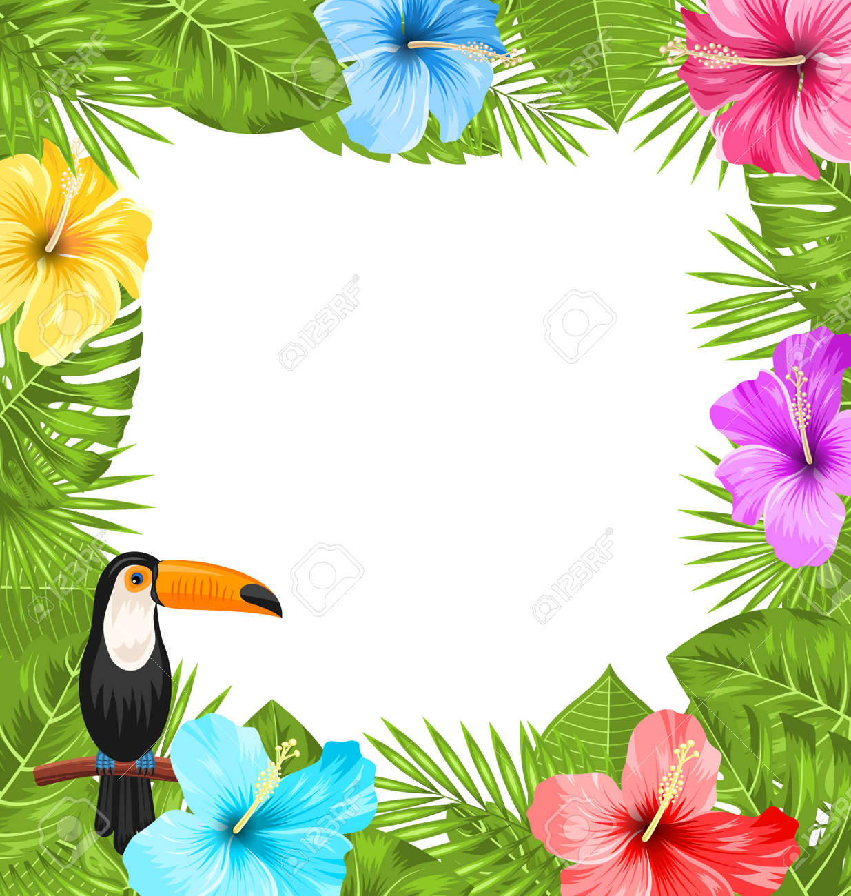 Illustration Exotic Jungle Frame with Toucan Bird, Colorful Hibiscus Flowers Blossom and Tropical Leaves, Copy Space for Your Text - Vector - 57654918