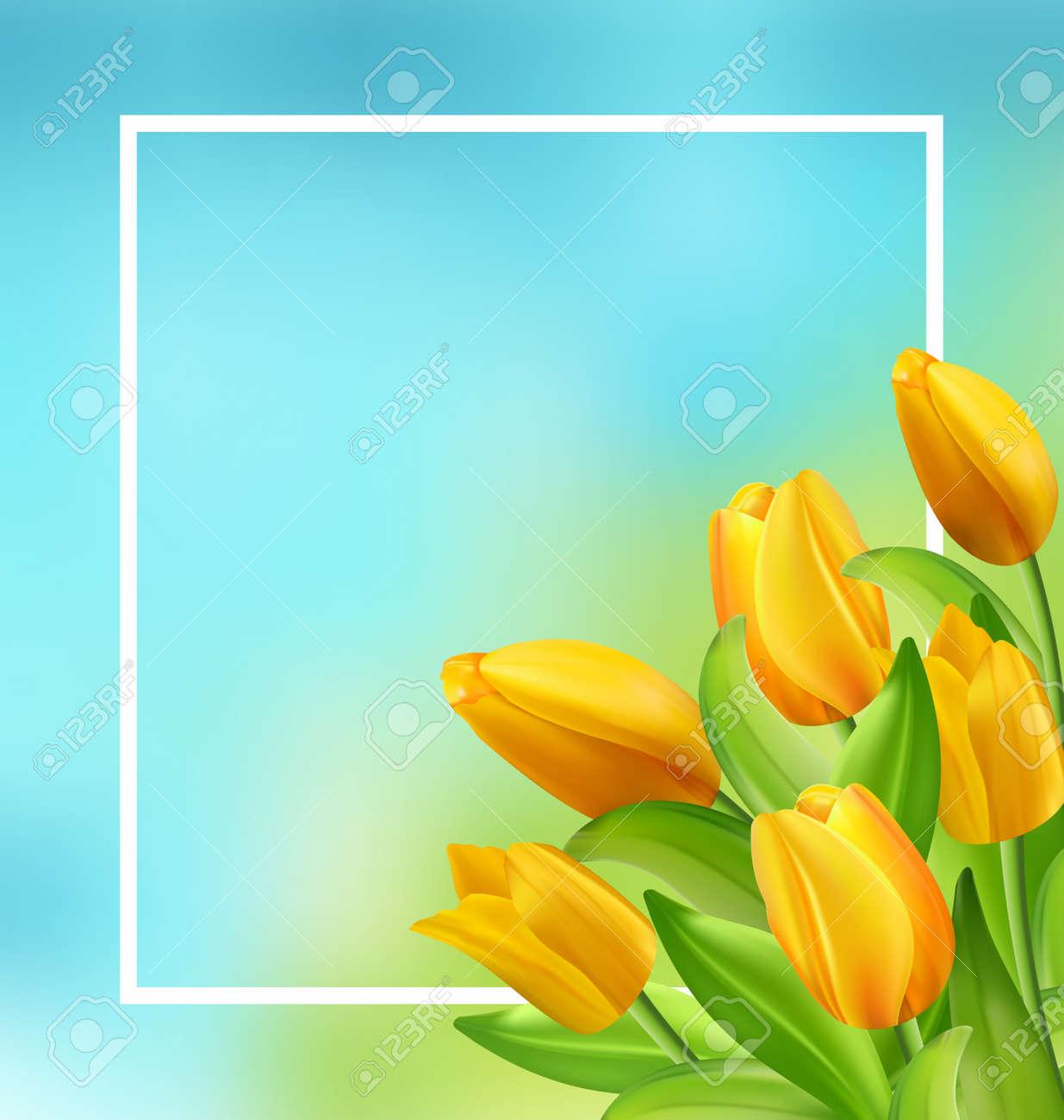 Ilustracion Del Marco Natural Con Los Tulipanes Amarillos Flores