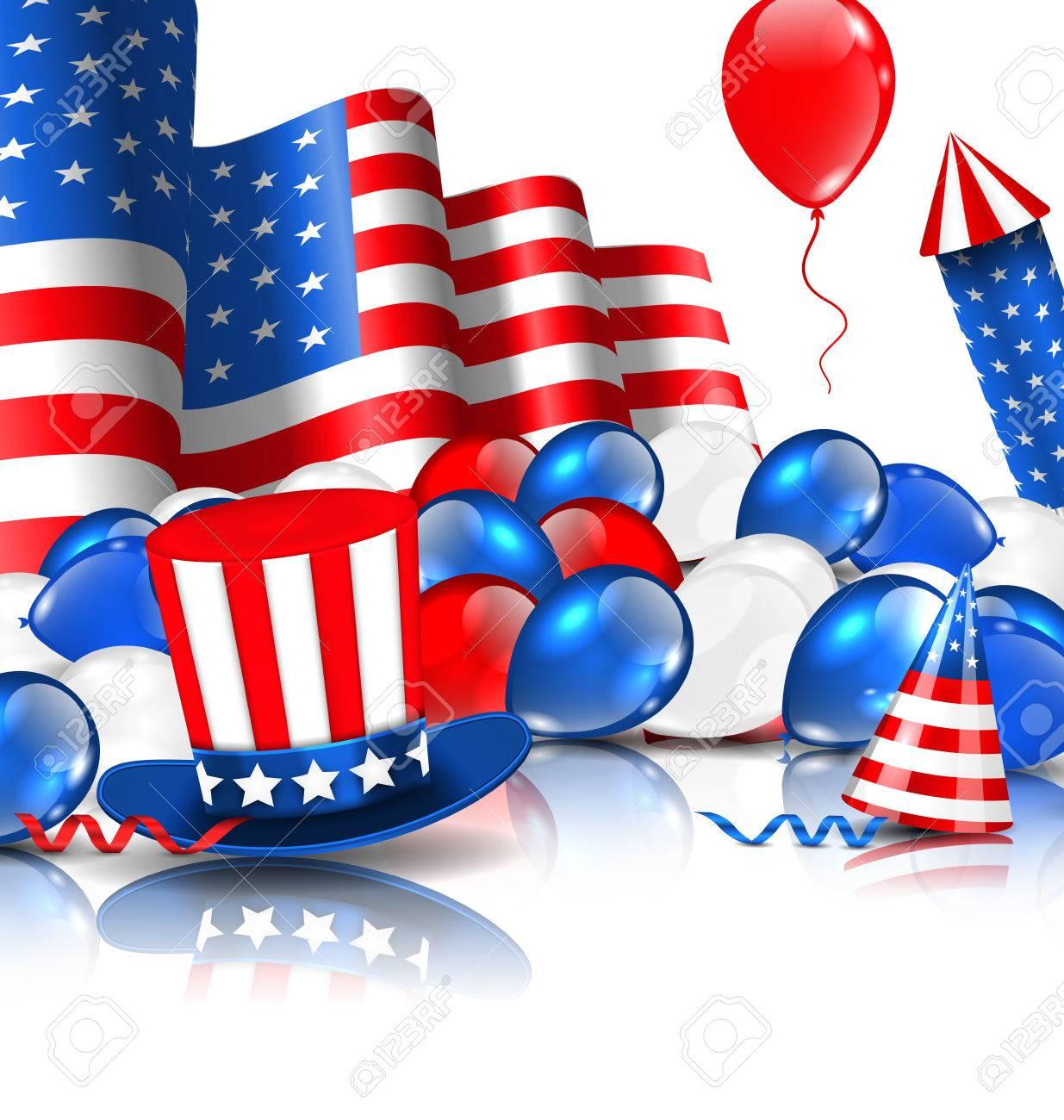 風船 アメリカ国旗の色でイラストのかわいい壁紙パーティー帽子 花火