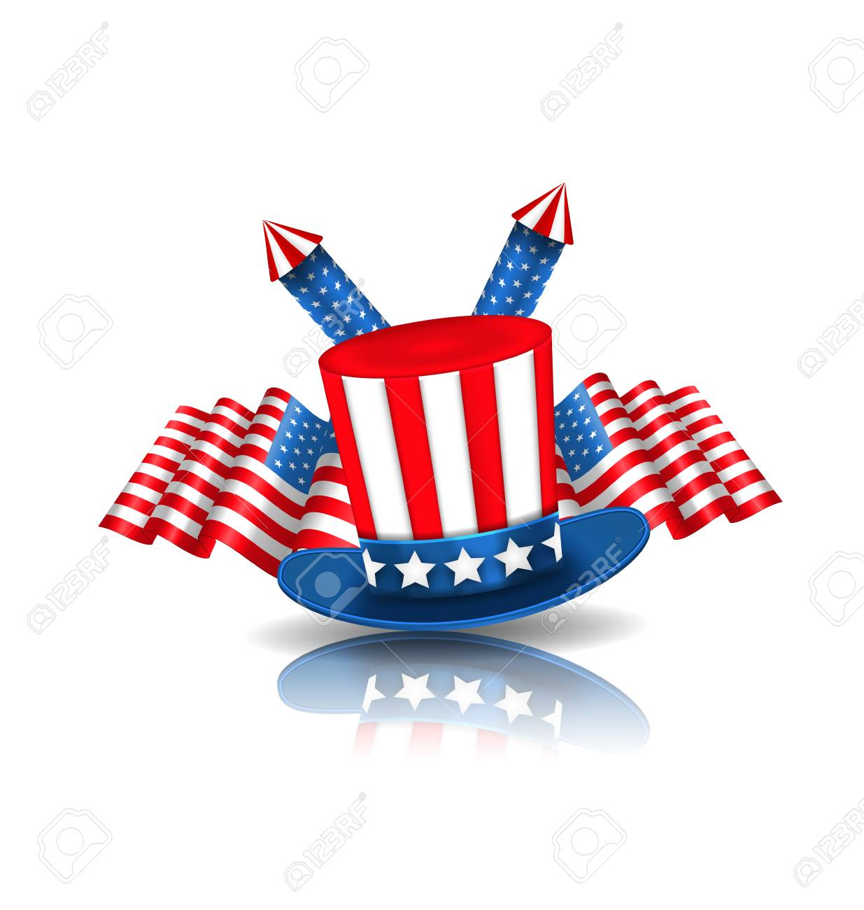 Illustration national symbols of usa in american colors objects illustration national symbols of usa in american colors objects with reflections vector stock vector biocorpaavc Images