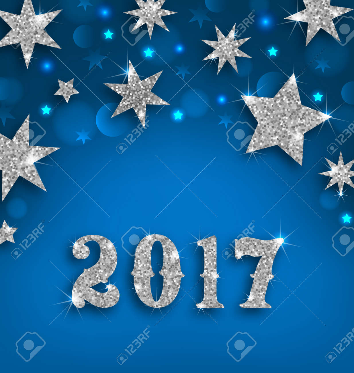 Illustration Starry Silver Background For Happy New Year 2017