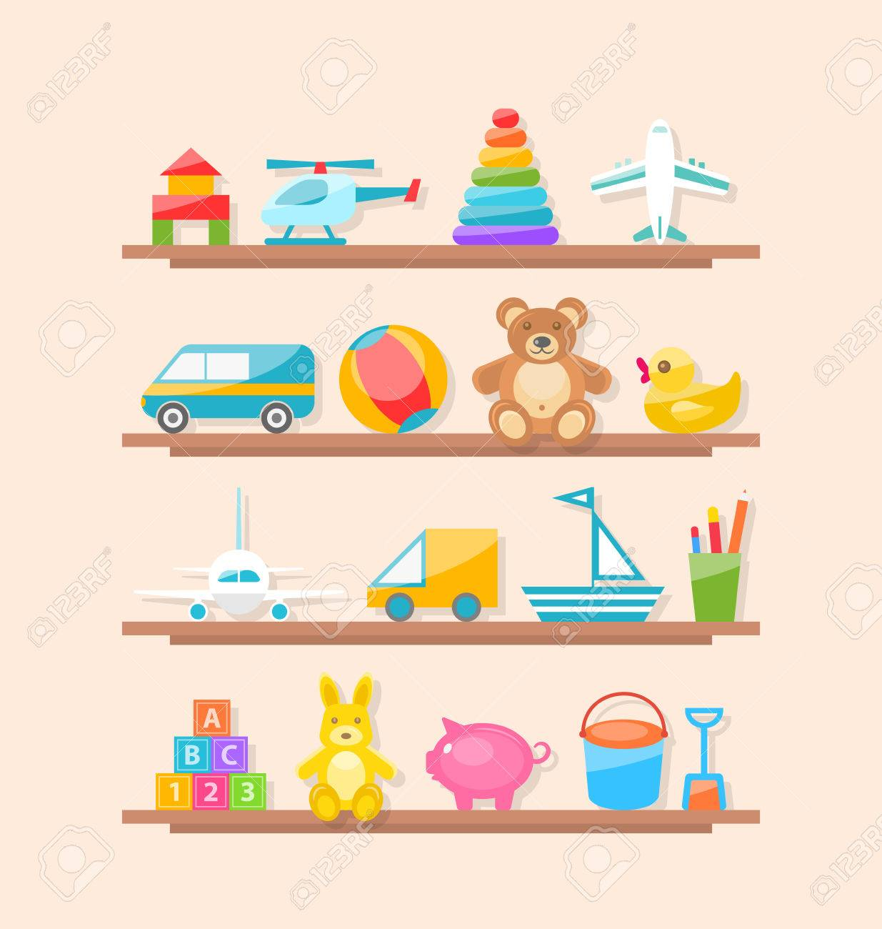 bf30a8c26a9b Illustration Set Of Colorful Children Toys On Shelf. Cartoon.. Stock ...
