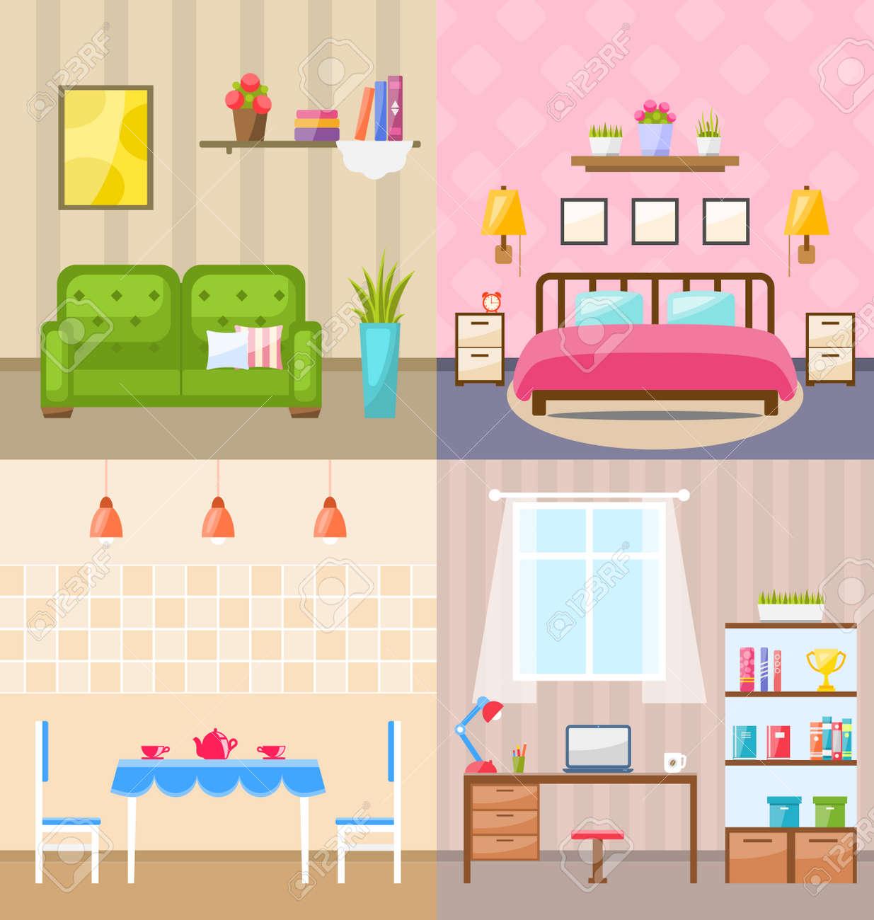 GroBartig Illustration Set Zimmer Innenräume Mit Möbel Wohnung Icons: Wohnzimmer Mit  Sofa, Schlafzimmer Mit Bett