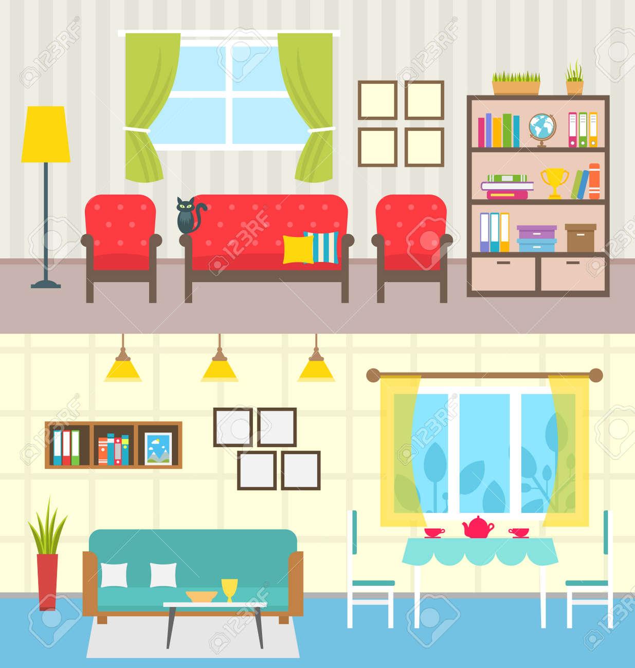 Illustration Set Home Interiors. Design of Living Rooms. - 65360473