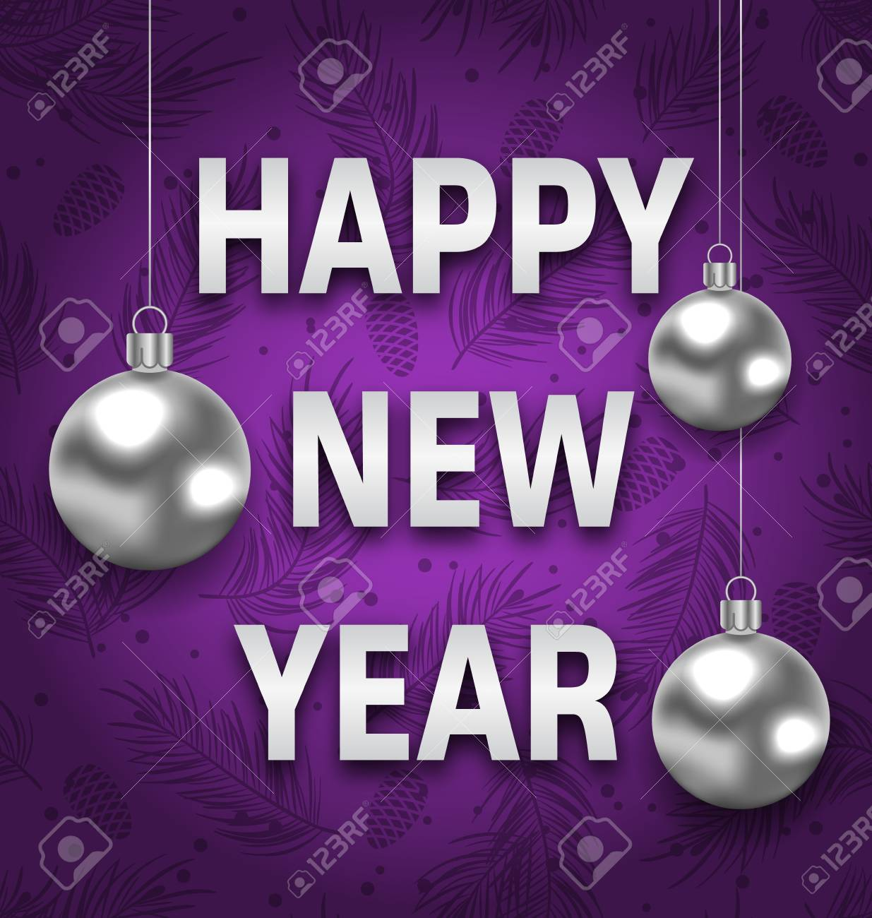 illustration illustration happy new year card with silver balls on purple background greeting postcard for winter holidays