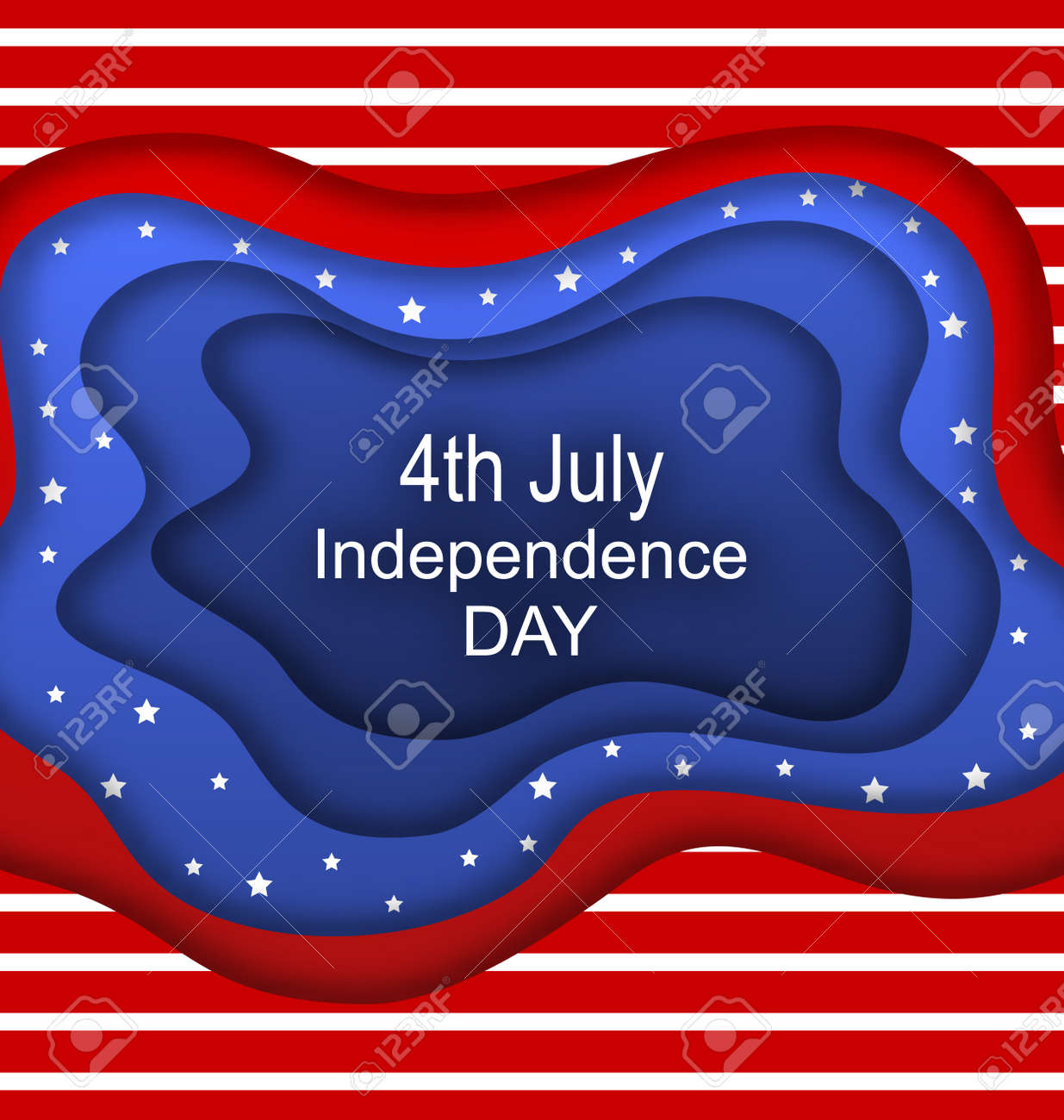 invitation for fourth of july independence day of the usa cut