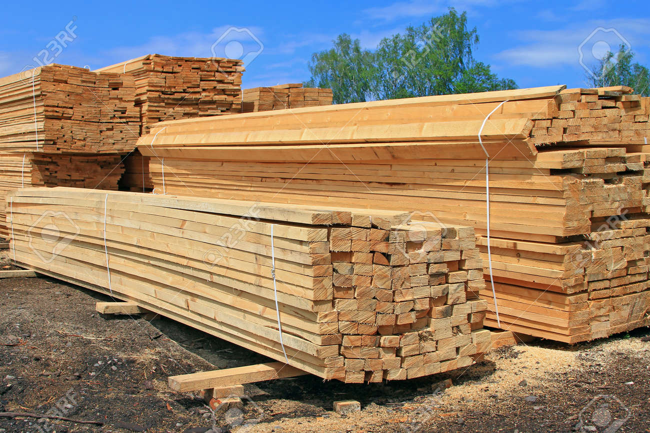 Edging board in stacks Stock Photo - 14153234