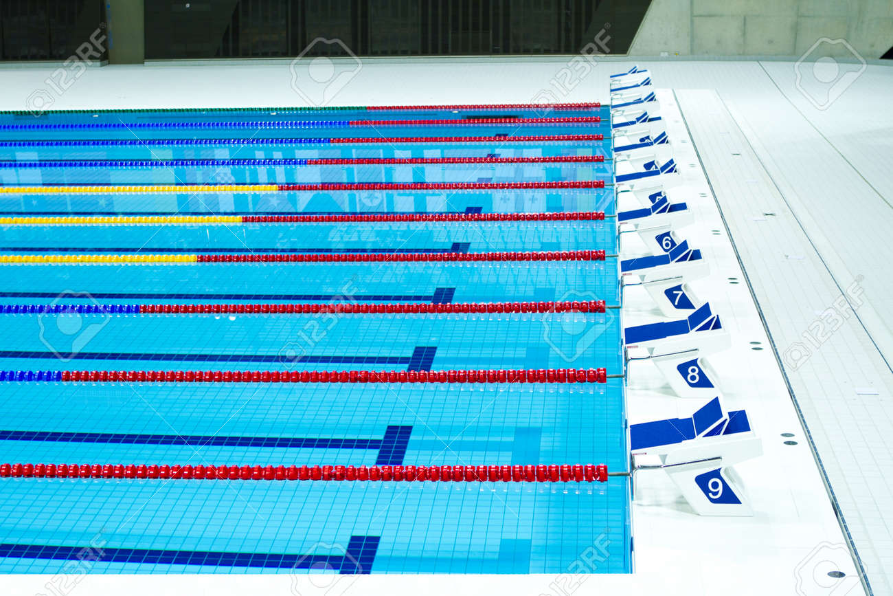 starting lanes of sports competition seized swimming pool Stock Photo - 12689823