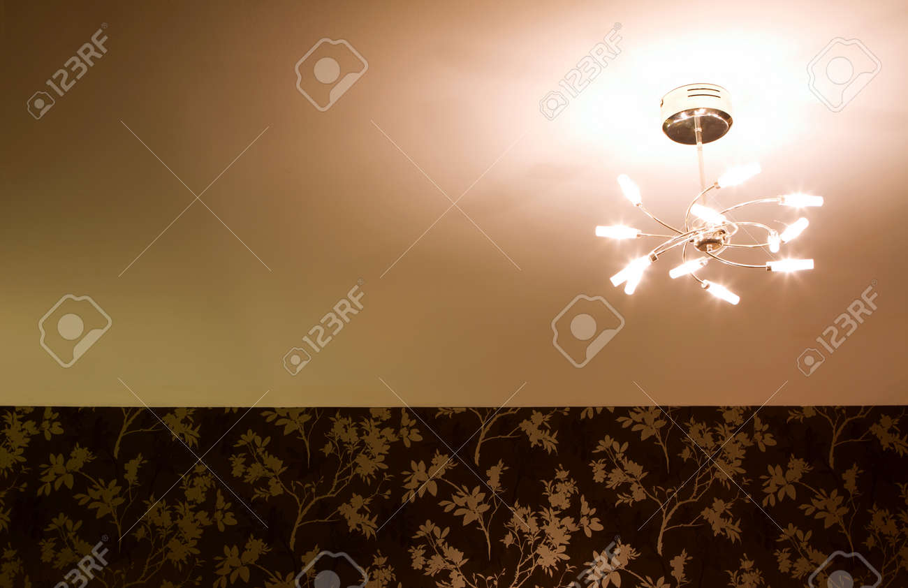 Bedroom Celing Light Fitting Dimly Glowing Stock Photo Picture And - Light fitting for bedroom