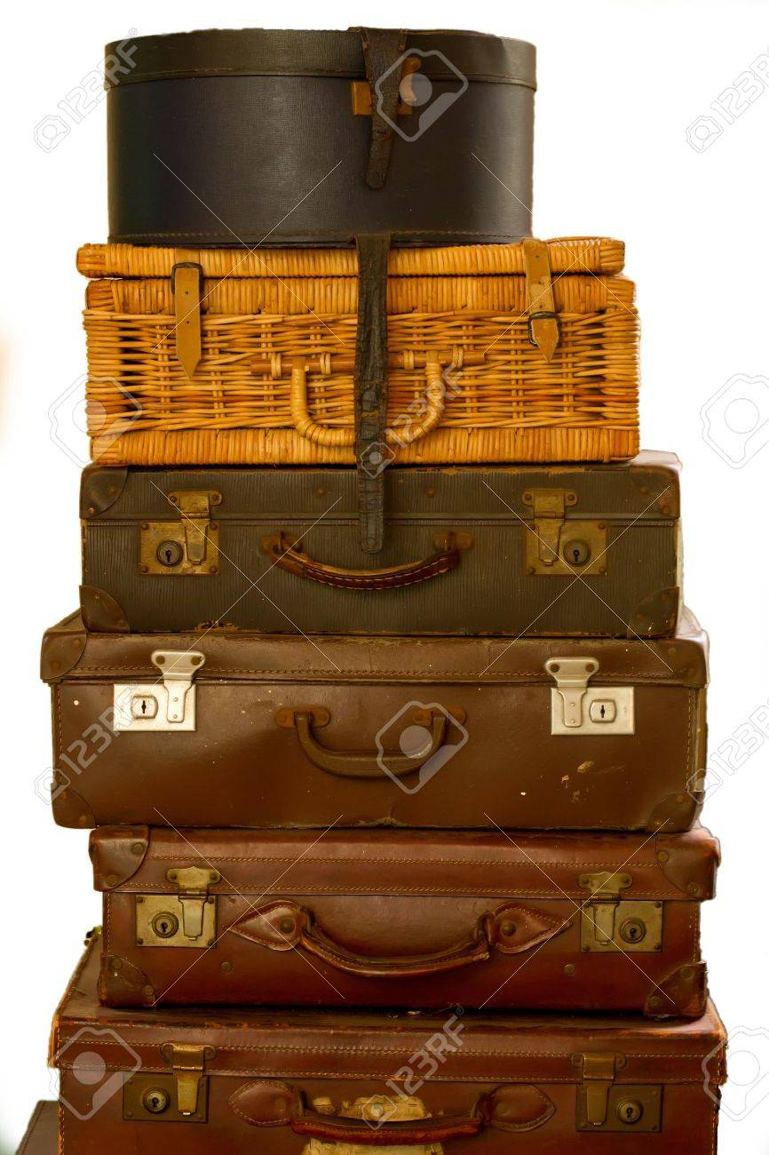 Old Suitcases Old Fashioned Suitcases Isolated Stock Photo Picture And Royalty