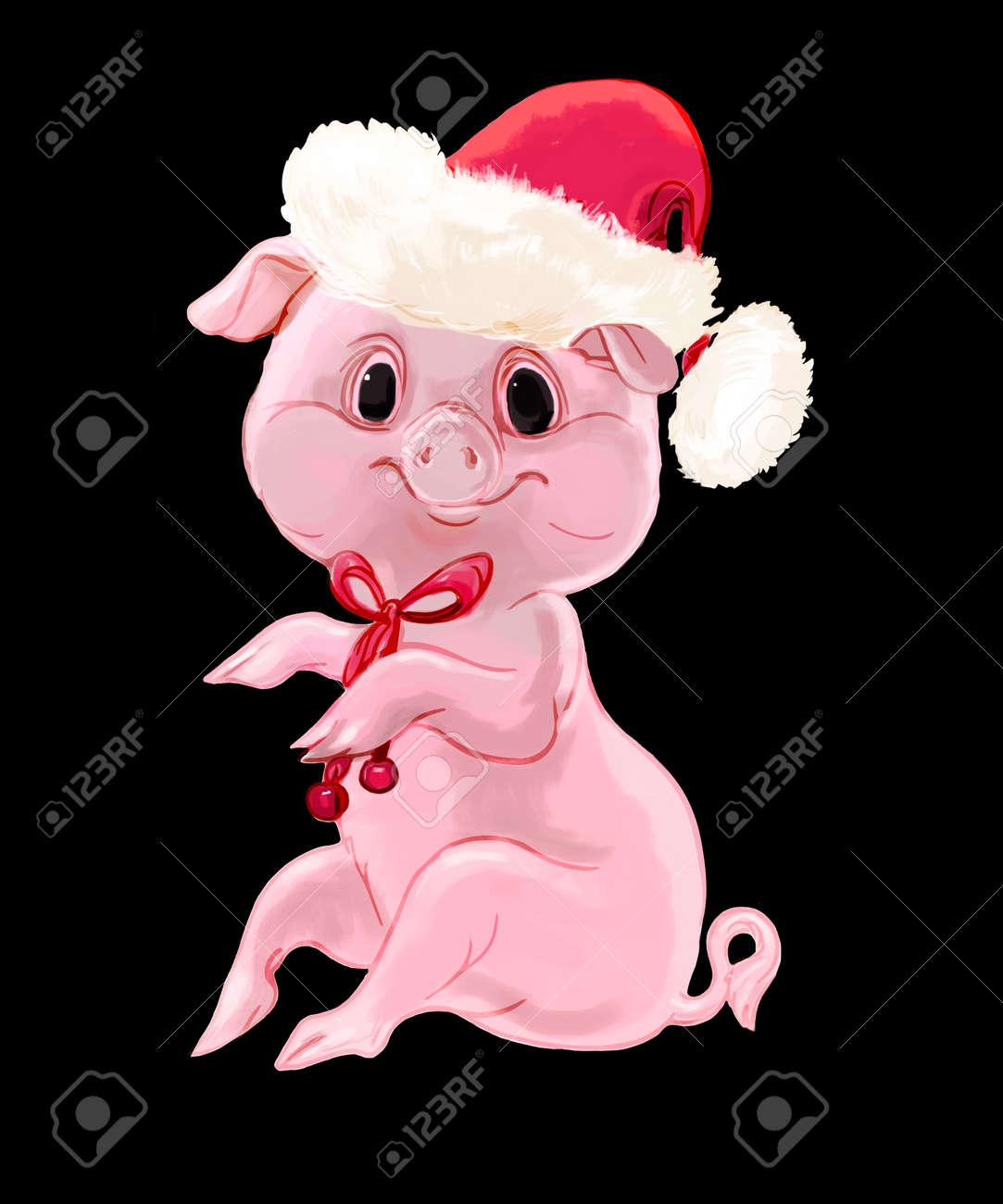 Süße Neujahr Schwein Isoliert Auf Schwarzem Hintergrund Lizenzfreie