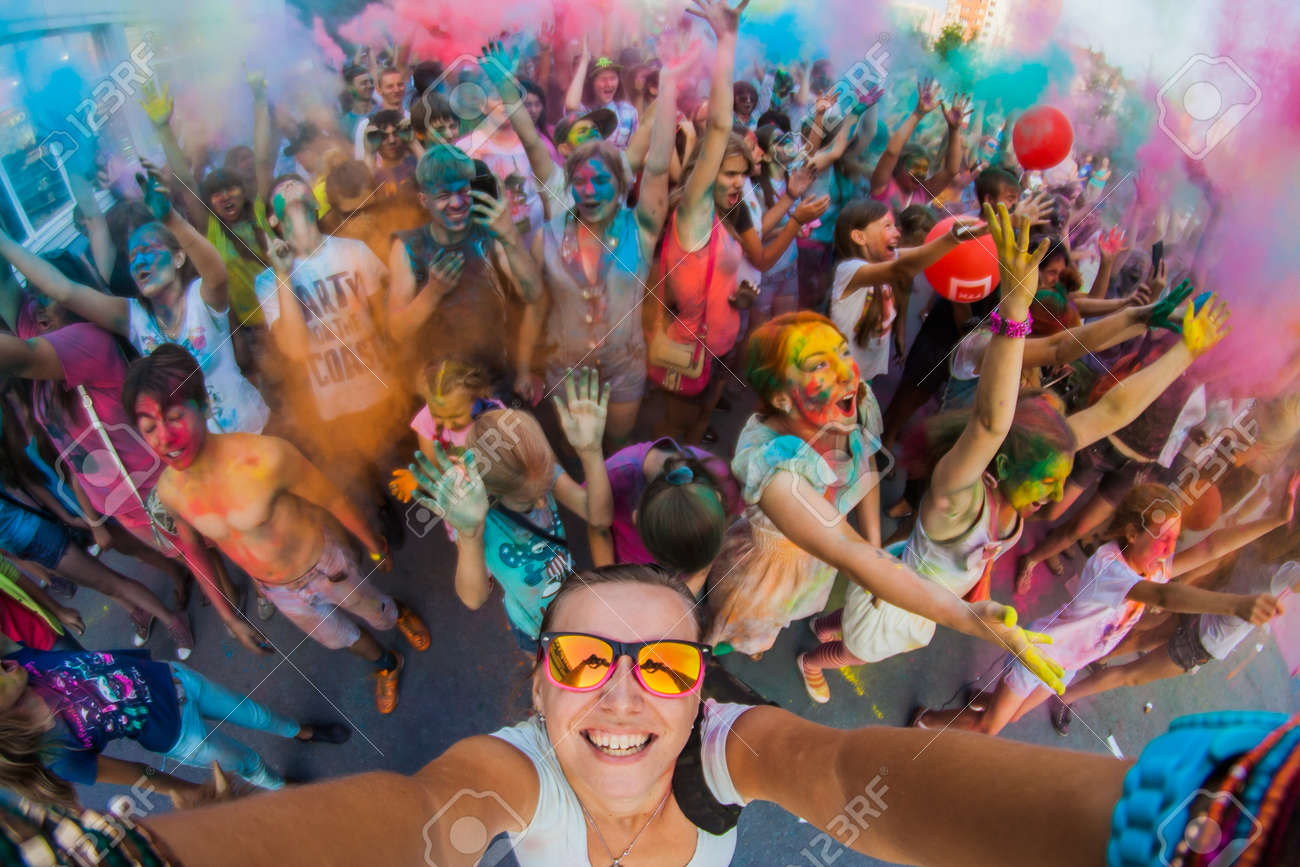 A group of a young people on the festival of colors Holi in Russia, Novokuznetsk. Selfie. - 42075625