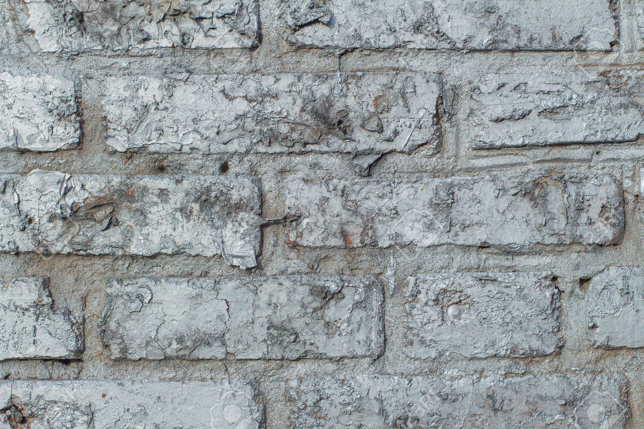 Background Of Old Brick Wall Texture Painted Silver Paint