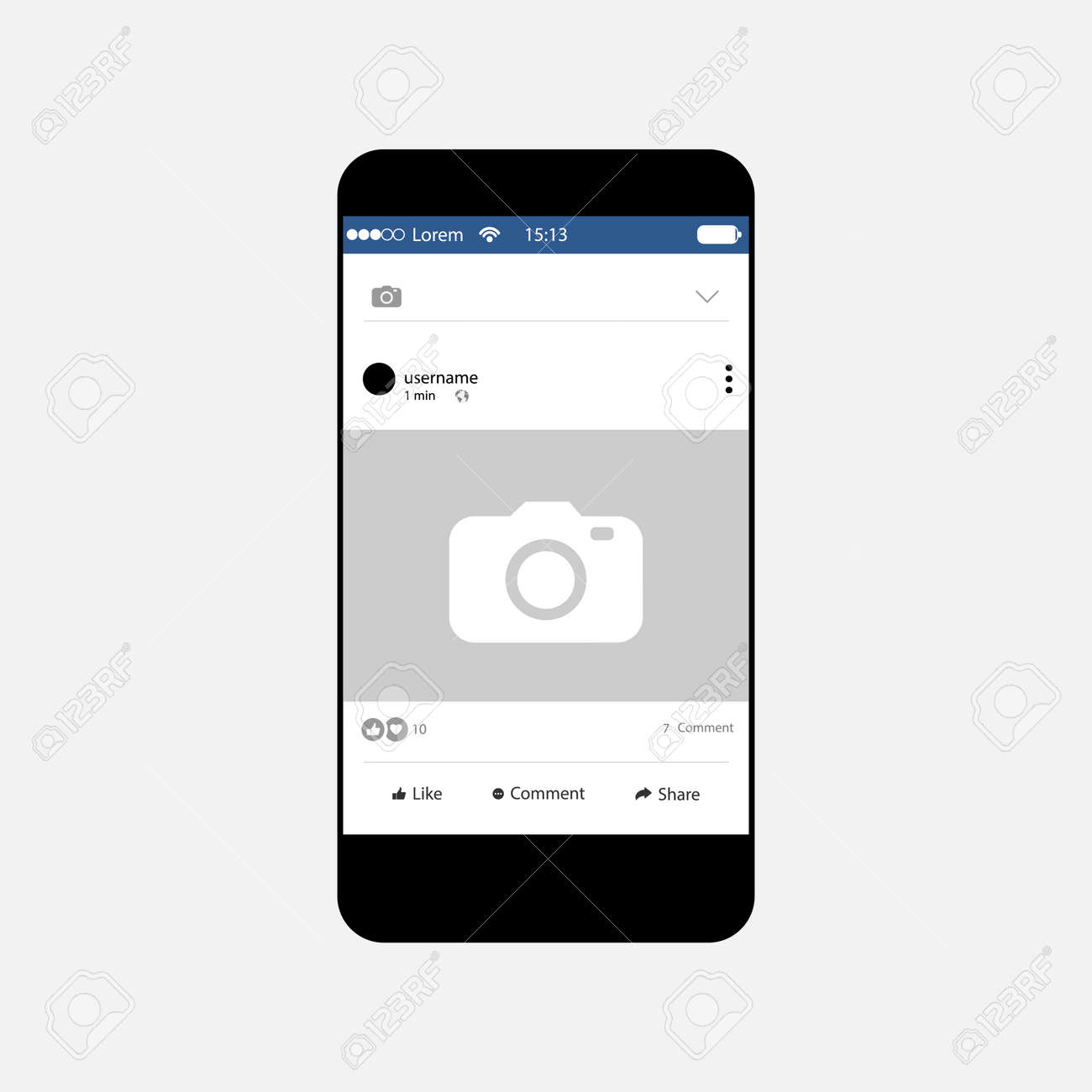 Social Network Photo Frame With Mobile Phone, Profile Page, Vector ...