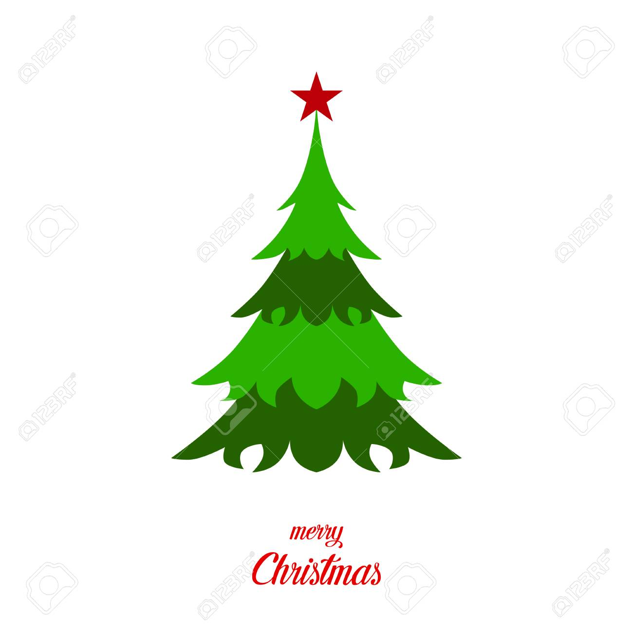 Green Christmas Tree With Star And Text Merry Christmas On Blank
