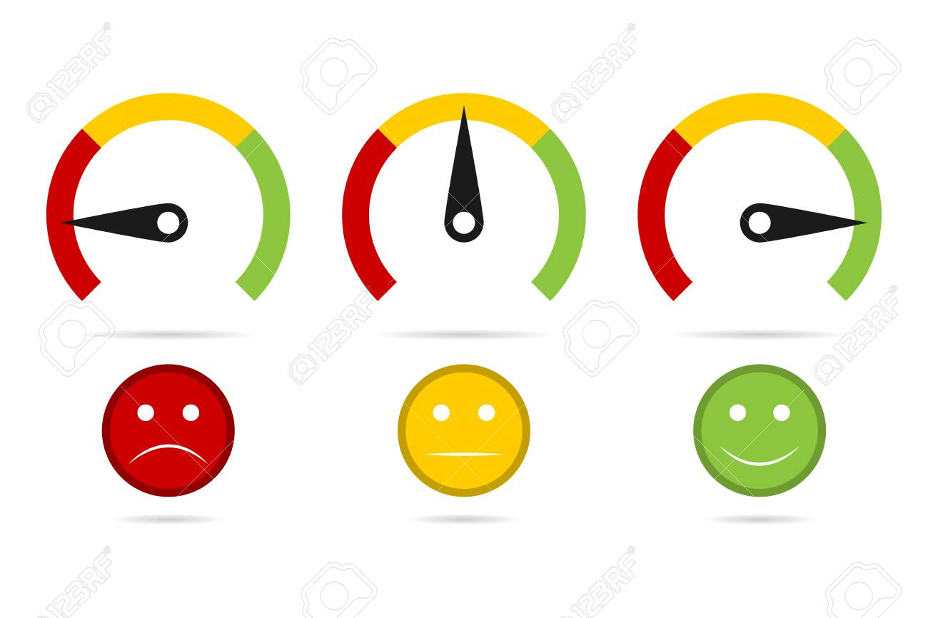 Set of measuring speedometer with emotions, Easy Normal Hard Vector illustration. - 100085322