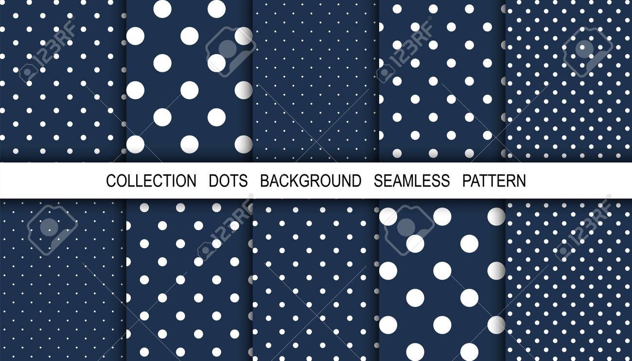 Dots. Dots background. Background pattern. White dot on blue background. Polka design. Winter. Snow. Vector illustration - 156119348