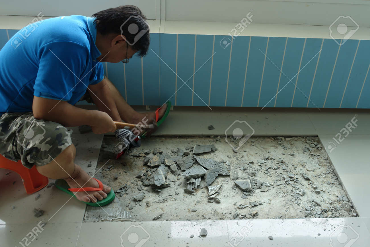 Homemade Replacing Floor Tiles , The Man Was Broken, And A Tile ...