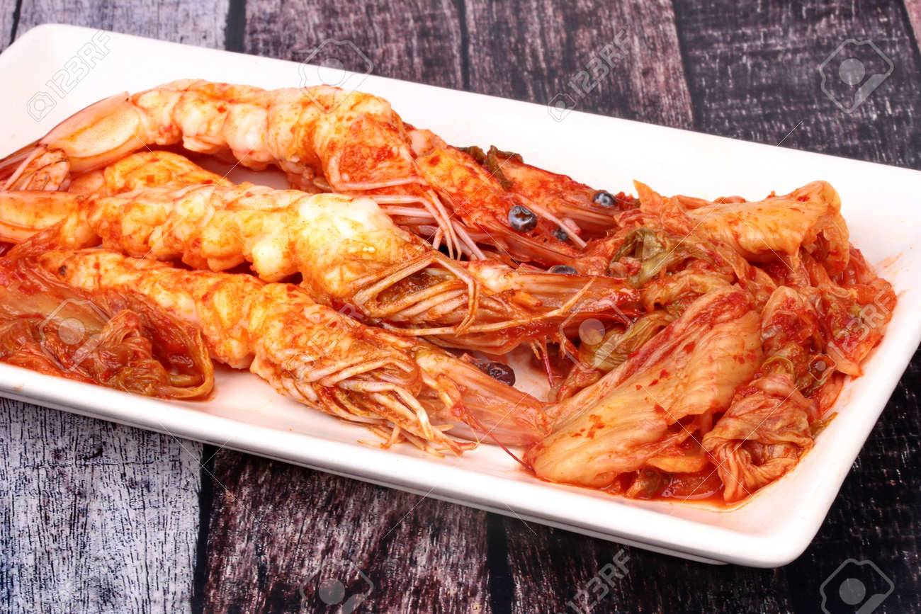 Korean Foodfried Baechu Kimchi With Prawnpeel Shrimp Shell Stock