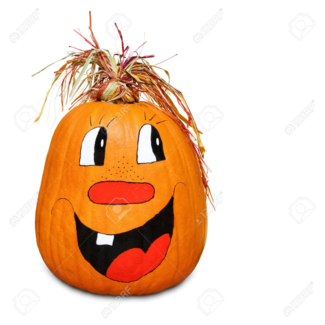 Isolated pumpkin with happy painted face and straw hair Stock Photo - 10280831