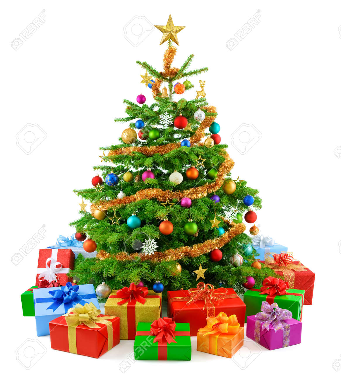 lush christmas tree with colorful gift boxes stock photo 10840622 - Christmas Tree Boxes
