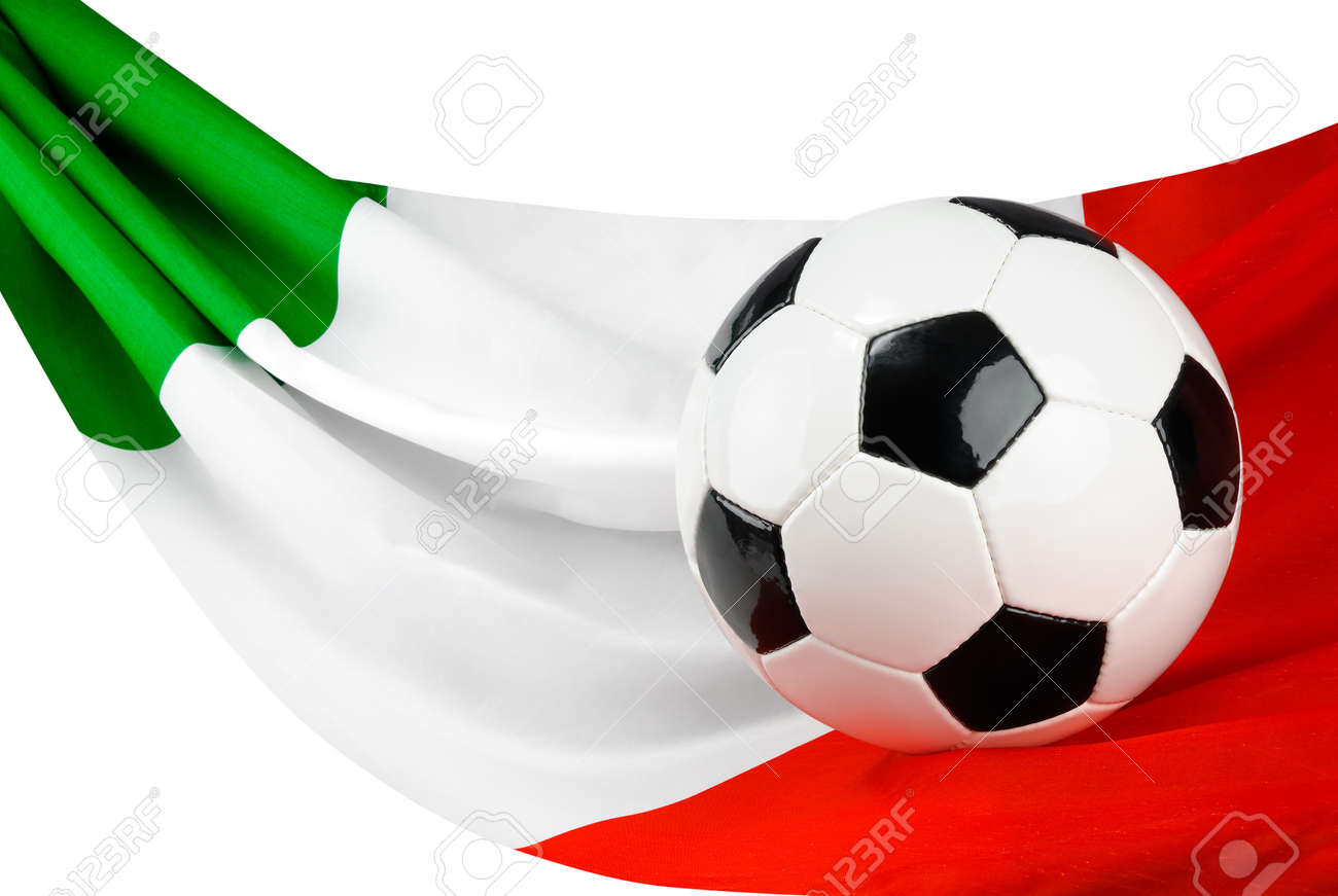 Soccer Ball On An Italian Flag Hanging In A Spiffy Way As A Symbol
