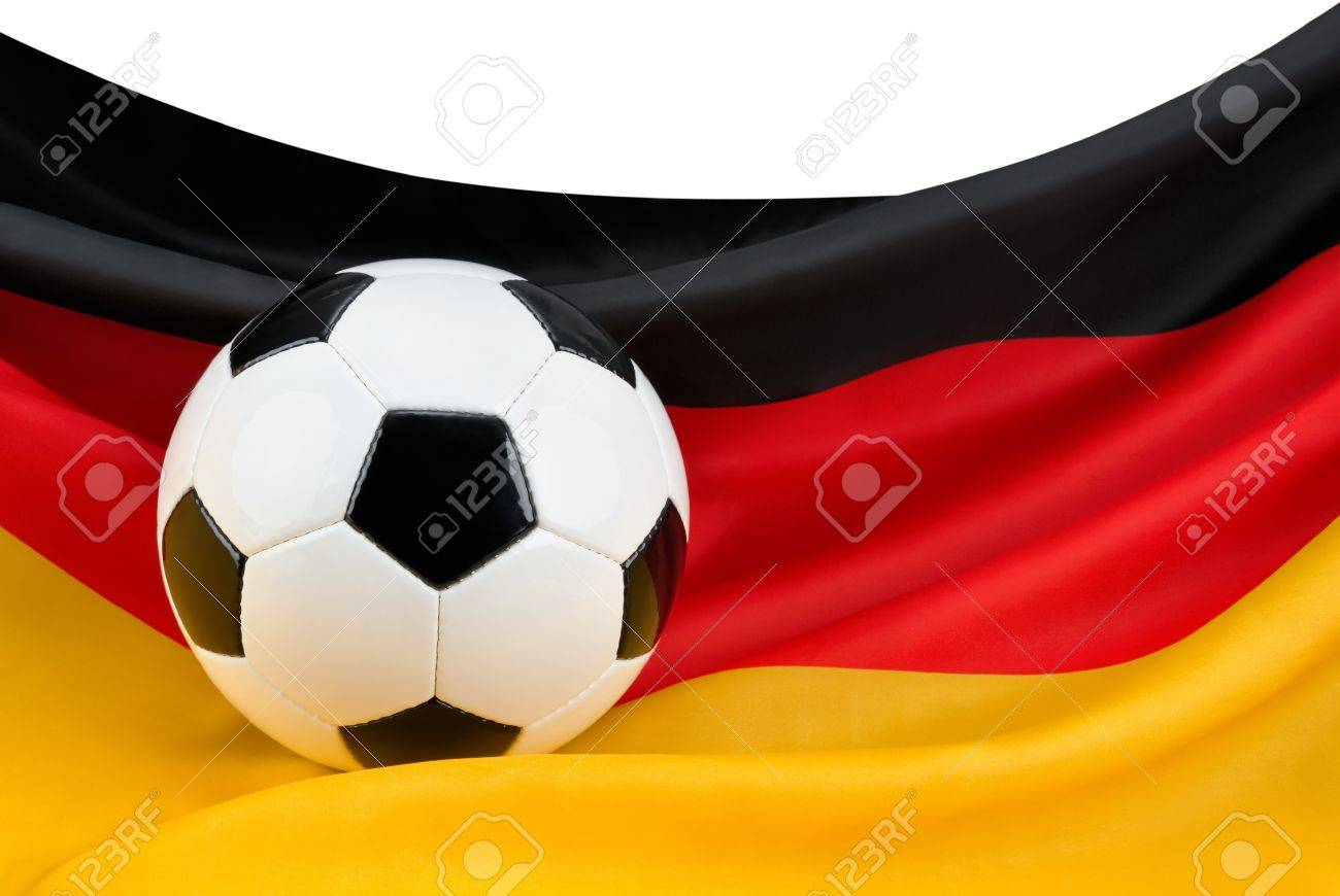 Soccer ball on a nicely hanging German flag as a symbol for Germany Stock Photo - 13793807