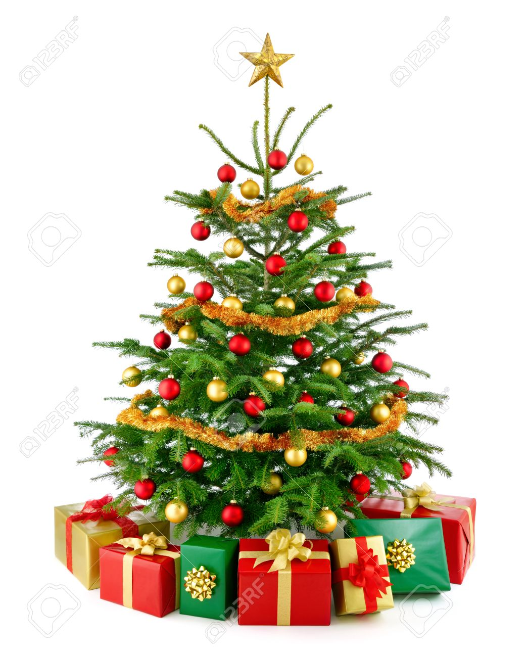 Weihnachtsbaum in rot und gold