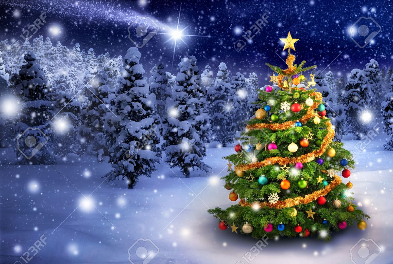 Magnificent colorful Christmas tree outdoor in a snowy night with a shooting star in the sky, for the perfect Christmas mood - 33473628