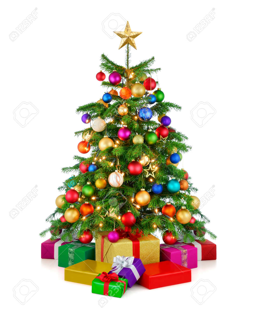 Joyful Studio Shot Of A Colorful Lush Christmas Tree Shining.. Stock ...