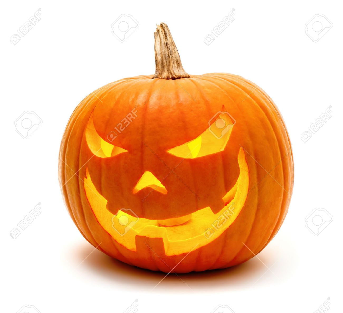 Jack o Lantern Halloween pumpkin grinning in the most evil fashion, isolated on white - 44712852