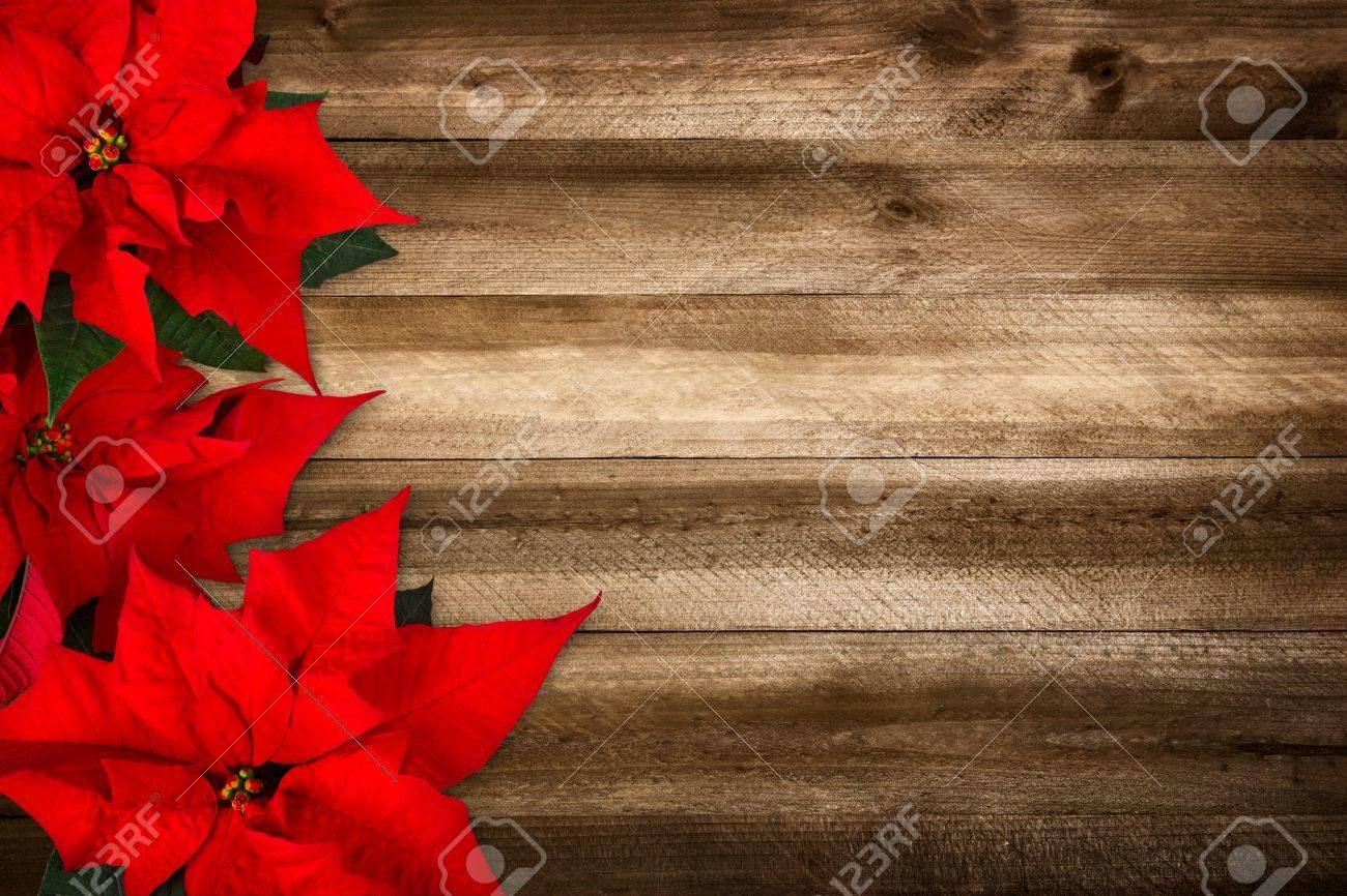 Weihnachten Hintergrund Der Hölzernen Planken Und Weihnachtsstern ...