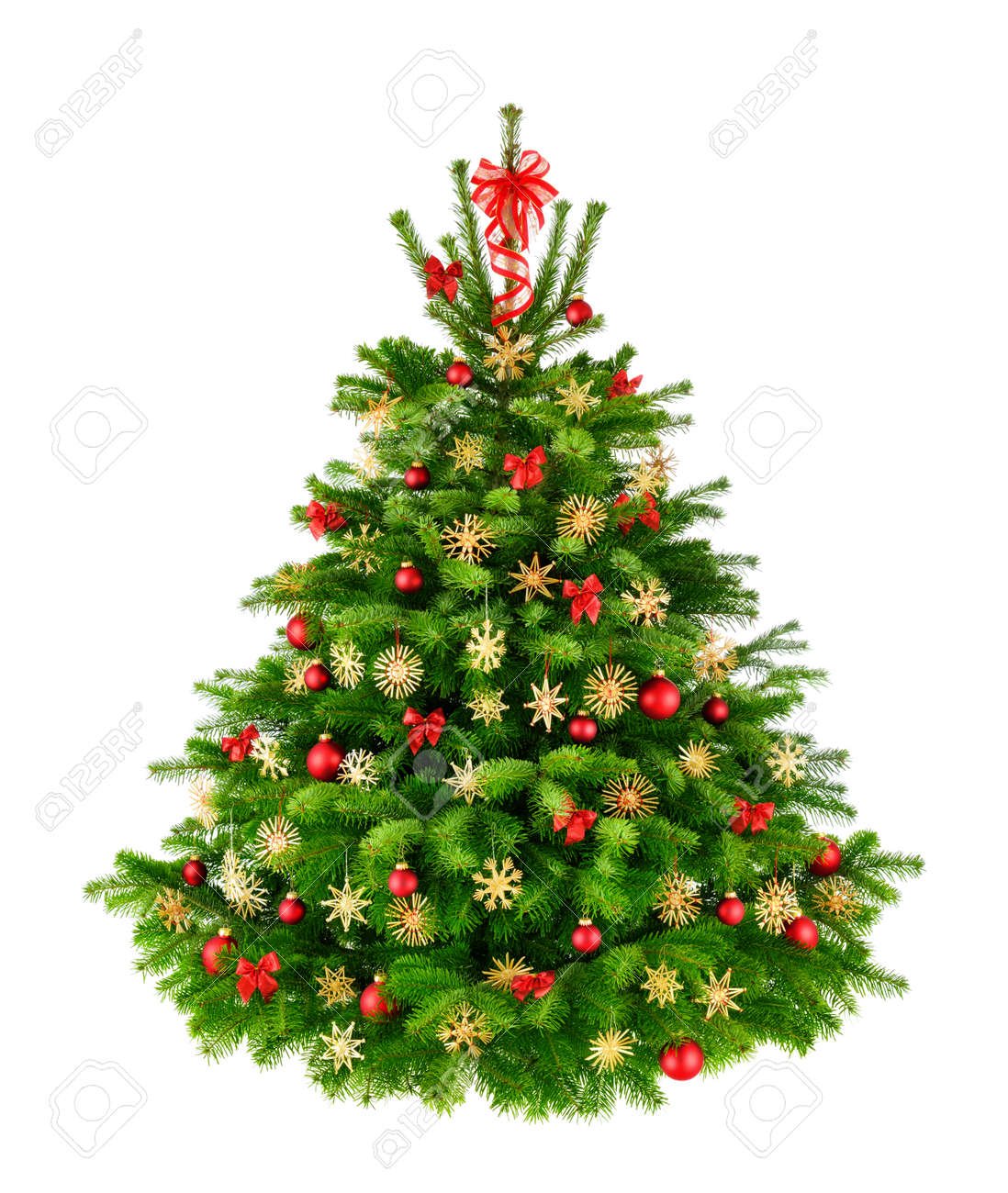Natural Christmas Tree.Rustic Natural Christmas Tree With Red Baubles Bows And Straw