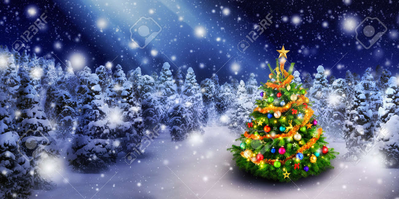 Magnificent colorful Christmas tree outdoor in a snowy night with a beam of magical light in the sky, for the perfect Christmas mood - 47725165