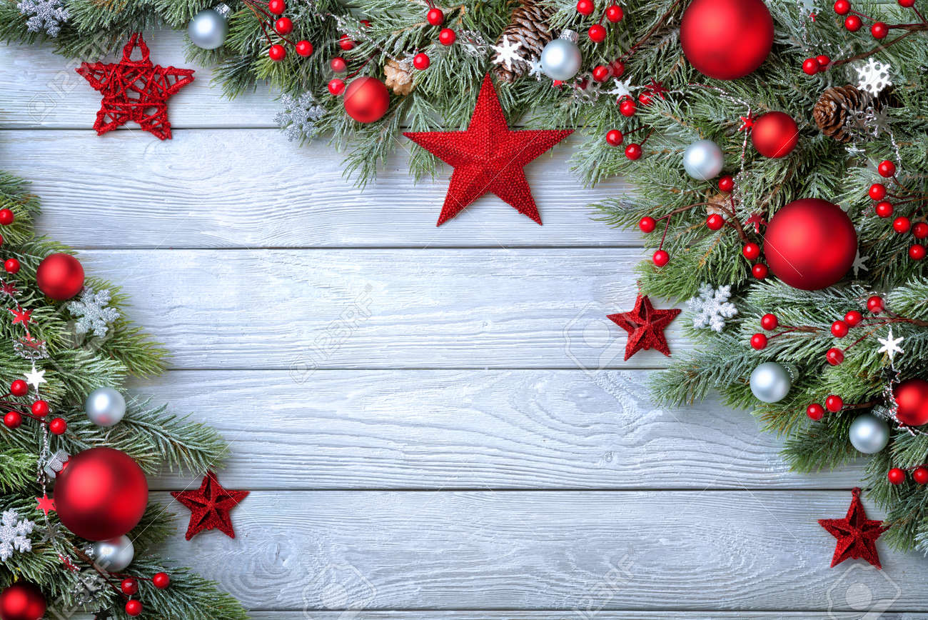 Elegant Christmas Background Hd.Christmas Background With Blue Wooden Board And Fir Branches