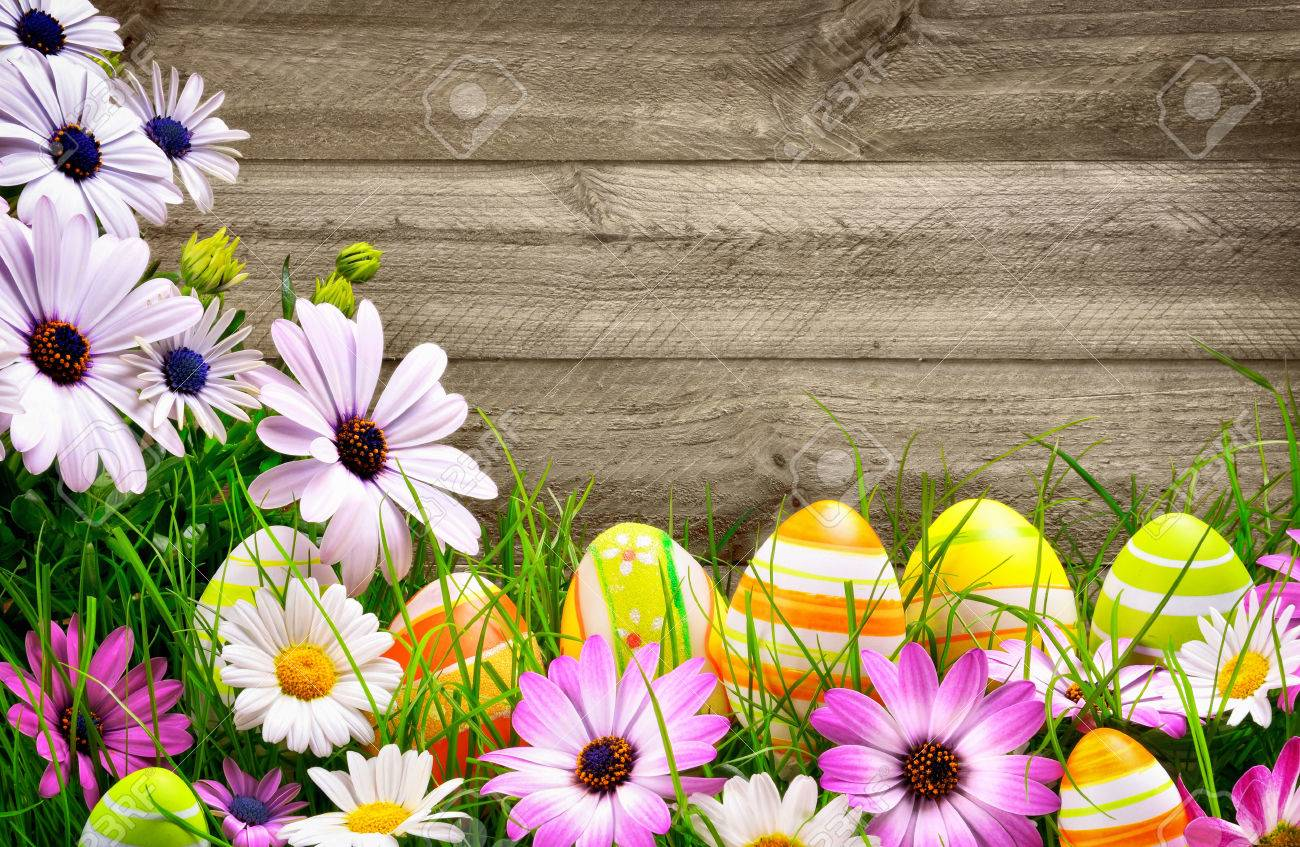 Spring Flowers And Happy Colorful Easter Eggs With Rustic Wood Planks In The Background Stock Photo