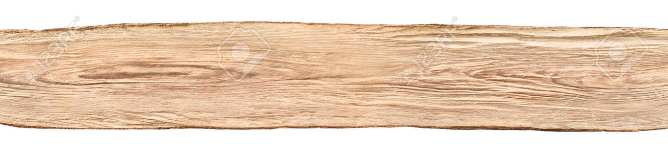 Rustic Background Banner A Nice Long Untreated Wood Board From Beech Tree Isolated