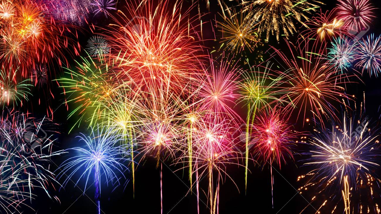 lively multi colored fireworks on black background ideal for
